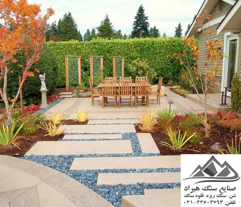 طراحی محوطه باغ ویلا و ساختمان های متفاوت: عکس های جدید محوطه سازی ویلا و باغ با سنگ قلوه ای